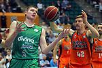 League ACB-ENDESA 2017/2018. Game: 30.<br /> Divina Seguros Joventut vs Valencia Baket Club: 77-75.<br /> Simon Birgander vs Aaron Doomekamp.