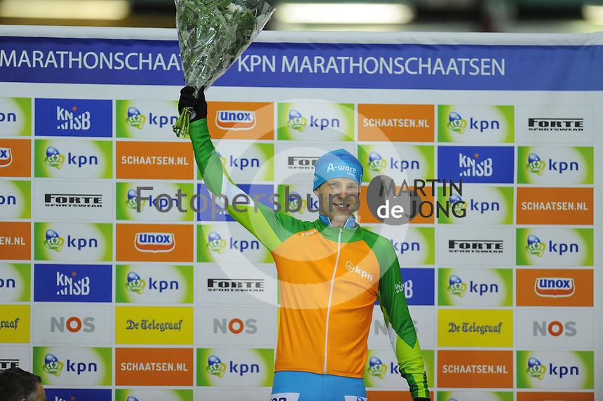 SCHAATSEN: HEERENVEEN: 25-10-2014, IJsstadion Thialf, Marathonschaatsen, KPN Marathon Cup 2, Klassementsleider Bob de Vries (#1), ©foto Martin de Jong