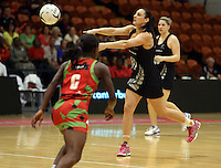 27.10.2013 Silver Fern Joline Henry in action during the Silver Ferns V Malawi New World Netball Series played at the Pettigrew Green Arena in Napier. Mandatory Photo Credit ©Michael Bradley.