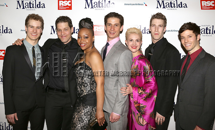 Ryan Steele, Ben Thompson, Tamika Sonja Lawrence, Colin Israel, Betsy Struxness, John Arthur Greene & Thayne Jasperson attending the Broadway Opening Night Performance After Party for 'Matilda The Musical' at the Marriott Marquis Hotel in New York City on 4/11/2013