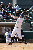 Dillon Bell of the University of California at Irvine hitting in a game against James Madison University at the Baseball at the Beach Tournament held at BB&T Coastal Field in Myrtle Beach, SC on February 28, 2010.