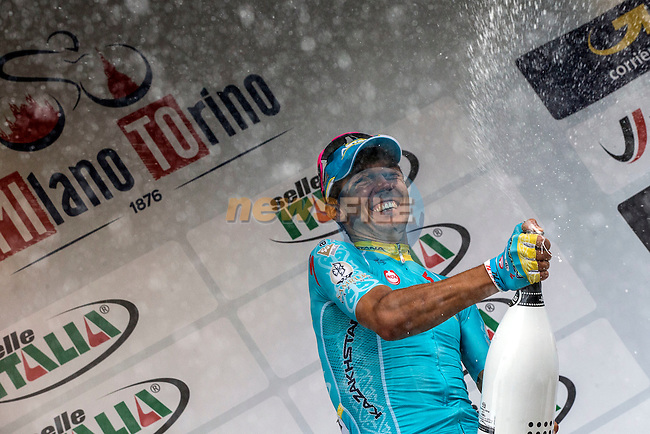 Diego Rosa (ITA) Astana wins the 2015 96th Milan-Turin 186km race starting at San Giuliano Milanese and finishing at Bisilica di Superga, Turin, Italy. 1st October 2015.<br /> Picture: Angelo Carconi/ANSA   Newsfile