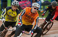 31 AUG 2015 - IPSWICH, GBR - Ben Mould (centre) of Wednesfield leads Andy Angell (left) of Hull during a heat at the British Cycle Speedway Championships at Whitton Sports and Community Centre in Ipswich, Suffolk, Great Britain (PHOTO COPYRIGHT © 2015 NIGEL FARROW, ALL RIGHTS RESERVED)
