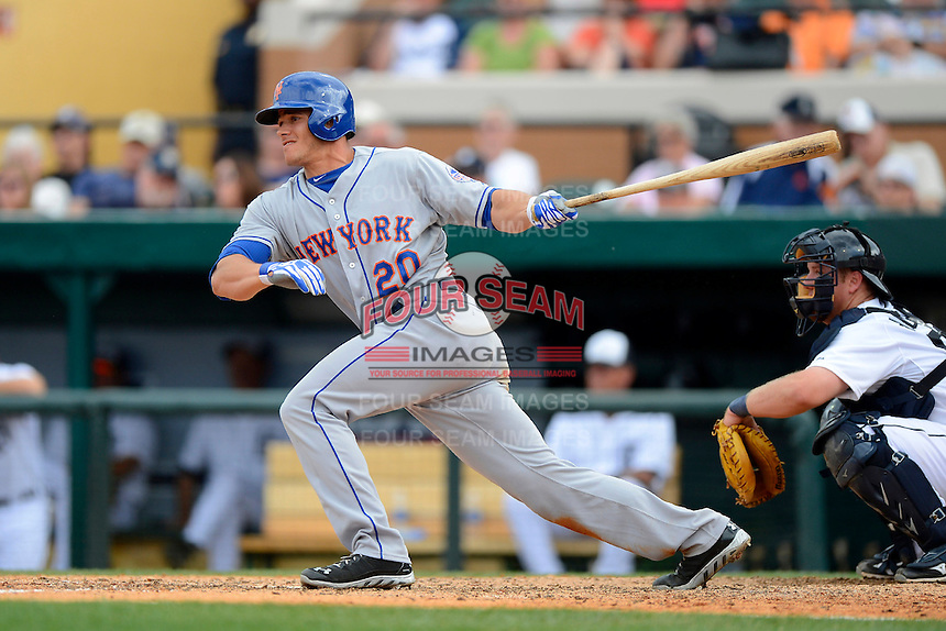 New York Mets catcher Anthony Recker #20 during a Spring Training game against the Detroit Tigers at Joker Marchant Stadium on March 11, 2013 in Lakeland, Florida.  New York defeated Detroit 11-0.  (Mike Janes/Four Seam Images)