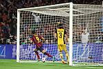 UEFA Champions League 2013/2014.<br /> Quarter-finals 1st leg.<br /> FC Barcelona vs Club Atletico de Madrid: 1-1.<br /> Filipe Luis &amp; Alexis Sanchez.