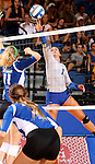 BROOKINGS, SD - SEPTEMBER 1:  Ashley Beaner #1 from South Dakota State tips the ball against Katie Dulek #11 from Drake in the Jacks home opener Tuesday night at Frost Arena.  (Photo by Dave Eggen/Inertia)