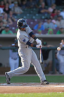 Lake County Captains shortstop Francisco Lindor #12 bats during a game against the Dayton Dragons at Fifth Third Field on June 25, 2012 in Dayton, Ohio. Lake County defeated Dayton 8-3. (Brace Hemmelgarn/Four Seam Images)
