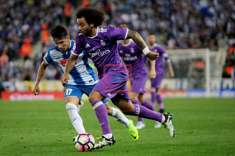 League Santander 2016/2017. Game: 4.<br /> RCD Espanyol vs R. Madrid: 0-2.<br /> Hernan Perez vs Marcelo Vieira.
