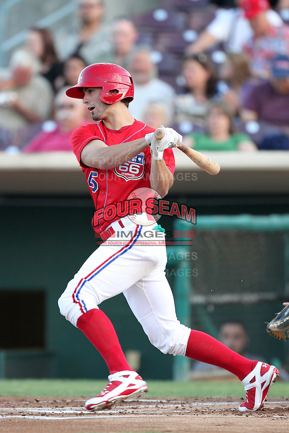Inland Empire 66'ers right fielder Randal Grichuk #45 bats against the Stockton Ports at Arrowhead Credit Union Park on September 4, 2011 in San Bernardino,California. Stockton defeated Inland Empire 3-0.(Larry Goren/Four Seam Images)