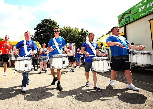June 17th 2017, Gander Green Lane, Sutton, England; Football Charity Match; Chelsea Legends versus Rangers Legends; The Corby Loyalists Band play their way into Gander Green Lane before kick off