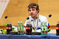 Picture by Richard Blaxall/SWpix.com - 28/09/2018 - Cycling 2018 Road Cycling World Championships Innsbruck-Tirol, Austria - Men's U23 Road Race - Marc Hirschi of Switzerland winning Gold, Press Conference