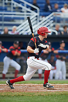 Batavia Muckdogs left fielder Mathew Brooks (46) grounds out during a game against the Lowell Spinners on July 12, 2017 at Dwyer Stadium in Batavia, New York.  Batavia defeated Lowell 7-2.  (Mike Janes/Four Seam Images)