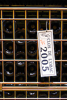 Bottles aging in the cellar. Clos de l'Obac 2005. Clos de l'Obac, Costers del Siurana, Gratallops, Priorato, Catalonia, Spain.