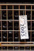 Bottles aging in the cellar. Clos de l'Obac 2005. Clos de l'Obac, Costers del Siurana, Gratallops, Priorato, Catalonia, Spain.