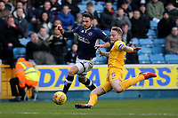 Lee Gregory of Millwall tries to take the ball past Preston North End's Tom Clarke during Millwall vs Preston North End, Sky Bet EFL Championship Football at The Den on 13th January 2018