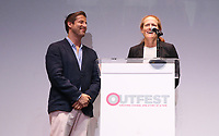 """LOS ANGELES, CA- Christopher Racster, Kerri Stoughton-Jackson, At 2017 Outfest Los Angeles LGBT Film Festival - Closing Night Gala Screening Of """"Freak Show"""" at The Theatre at Ace Hotel, California on July 16, 2017. Credit: Faye Sadou/MediaPunch"""