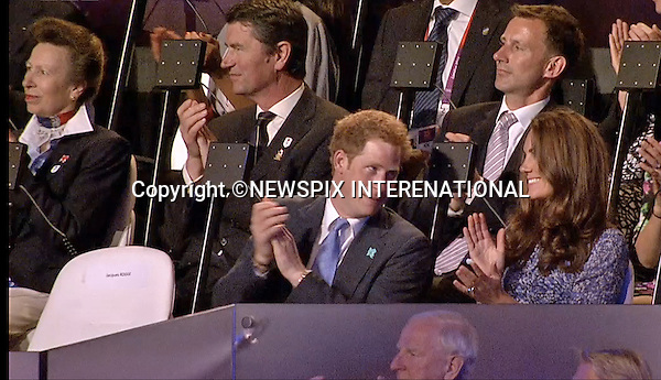 """KATE AND PRINCE HARRY .attend the closing ceremony of the London Olympics_12/08/2012.Mandatory Credit Photo: London2012/NEWSPIX INTERNATIONAL..**ALL FEES PAYABLE TO: """"NEWSPIX INTERNATIONAL""""**..IMMEDIATE CONFIRMATION OF USAGE REQUIRED:.Newspix International, 31 Chinnery Hill, Bishop's Stortford, ENGLAND CM23 3PS.Tel:+441279 324672  ; Fax: +441279656877.Mobile:  07775681153.e-mail: info@newspixinternational.co.uk"""