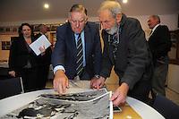 Sir Colin Meads autographs photos for photographer Peter Bush during the Pink Batts Heartland Championship 2013 season launch at Waikanae RFC, Waikanae, New Zealand on Tuesday, 13 August 2013. Photo: Dave Lintott / lintottphoto.co.nz