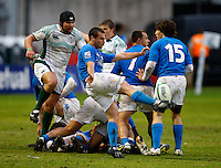 Photo: Richard Lane/Richard Lane Photography. Ireland U20 v Italy U20. Semi Final. 18/06/2008. Italy's Carlo Vannini kicks clear.