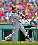 24 May 2009: Baltimore Orioles' catcher Chad Moeller fouls on off against the Washington Nationals at Nationals Park in Washington, DC. The Nationals rallied to defeat the Orioles 8-5 and salvage a win in their interleague series. Mandatory Credit: Ed Wolfstein Photo