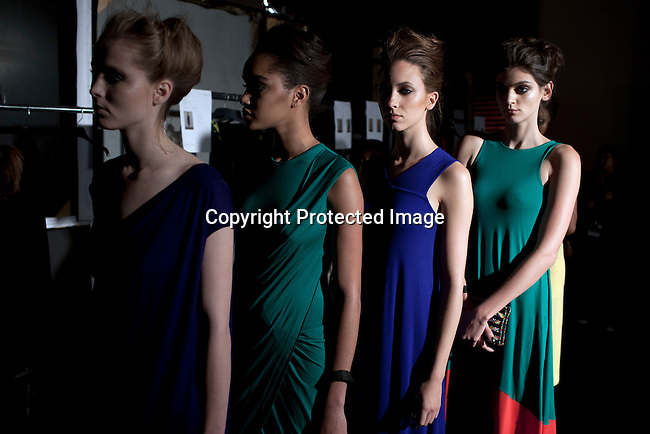 CAPE TOWN, SOUTH AFRICA - JULY 28: Models walking for the designer label Tart waits backstage before a fashion show at the Mercedes Benz Cape Town Fashion Week on July 28, 2012, in Cape Town, South Africa. Some of South Africa's finest designers showed their 2012-13 spring and summer collections during the 4-day event. (Photo by Per-Anders Pettersson)