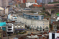 Pictured: Swansea Railway Train Station High Street general view of Swansea as seen from the Penthouse restaurant<br />