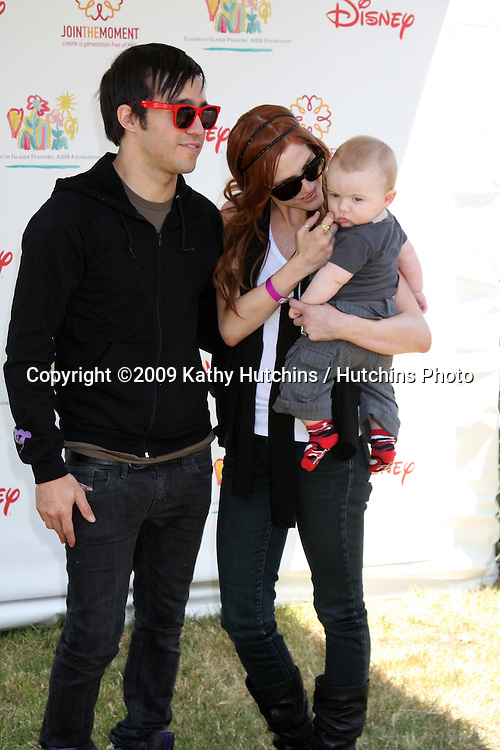 """Pete Wentz, Ashlee Simpson-Wentz & son Bronx Mowgli Wentz arriving at the """"A Time For Heroes Celebrity Carnival"""" benefiting the Elizabeth Glaser Pediatrics AIDS Foundation at the Wadsworth Theater Grounds in Westwood , CA on June 7, 2009 .©2009 Kathy Hutchins / Hutchins Photo.."""