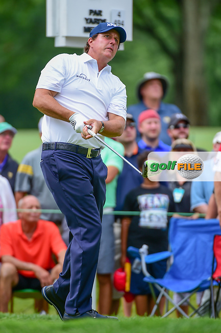 Phil Mickelson (USA) watches his tee shot on 9 during Sunday's final round of the World Golf Championships - Bridgestone Invitational, at the Firestone Country Club, Akron, Ohio. 8/6/2017.<br /> Picture: Golffile | Ken Murray<br /> <br /> <br /> All photo usage must carry mandatory copyright credit (&copy; Golffile | Ken Murray)