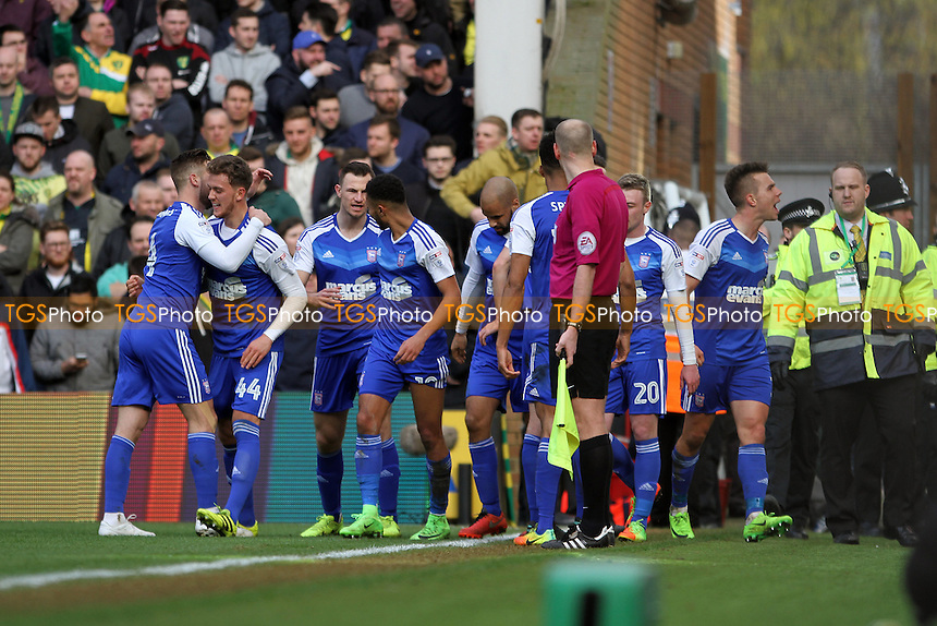 Ipswich celebrate the first goal of the game scored by Jonas Knudsen of Ipswich Town during Norwich City vs Ipswich Town, Sky Bet EFL Championship Football at Carrow Road on 26th February 2017