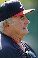 Special instructor Lee Elia of the Atlanta Braves farm system in a Minor League Spring Training intrasquad game on Wednesday, March 18, 2015, at the ESPN Wide World of Sports Complex in Lake Buena Vista, Florida. (Tom Priddy/Four Seam Images)