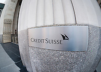 A sign for the New York headquarters of Credit Suisse on Madison Ave. on Saturday, December 27, 2014. Credit Suisse has recently lost its legal battle to dismiss a lawsuit by the NYS Attorney General accusing them or mortgage fraud leading up to the Great Recession. (© Richard B. Levine)