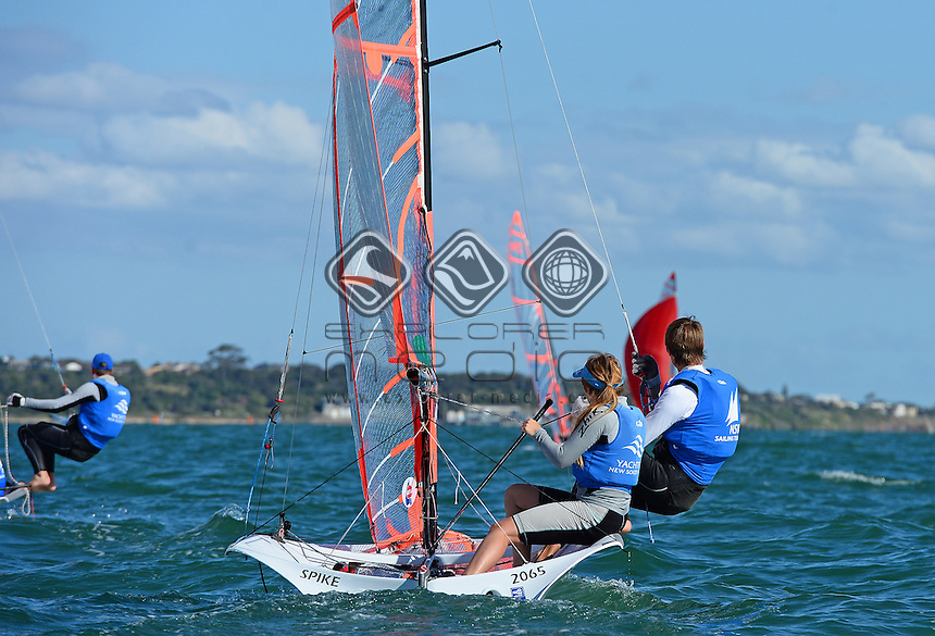 29ER / Amelia STABBACK &amp; Nathan EDWARDS (AUS)<br /> 2013 ISAF Sailing World Cup - Melbourne<br /> Sail Melbourne - The Asia Pacific Regatta<br /> Sandringham Yacht Club, Victoria<br /> December 1st - 8th 2013<br /> &copy; Sport the library / Jeff Crow