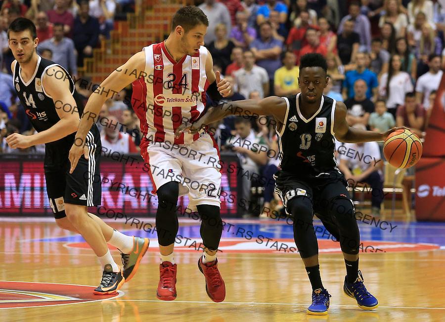 Kosarka Kosarkaska Liga Srbije season 2014-2015<br /> Crvena Zvezda v Partizan<br /> Stefan Jovic (L) and Boris Dallo (R)<br /> Belgrade, 05.17.2015.<br /> foto: Srdjan Stevanovic/Starsportphoto &copy;