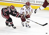 Liza Ryabkina (Harvard - 3), Kelli Stack (BC - 16) - The Boston College Eagles defeated the Harvard University Crimson 3-1 to win the 2011 Beanpot championship on Tuesday, February 15, 2011, at Conte Forum in Chestnut Hill, Massachusetts.
