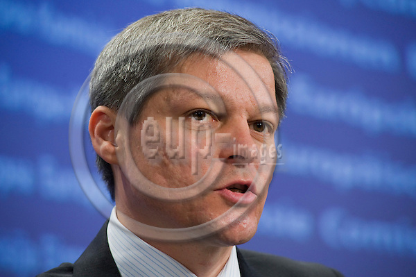 Brussels-Belgium - April 12, 2010 -- Dacian CIOLOS (Ciolo?), European Commissioner from Romania and in charge of Agriculture and Rural Development, during a press conference in the HQ of the EC -- Photo: Horst Wagner / eup-images