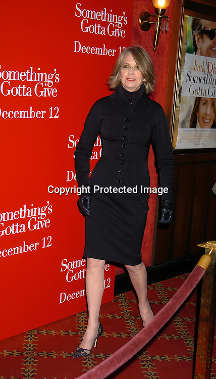 """Diane Keaton in Dolce and Gabbana..at the World Premiere of """" Something's Gotta Give"""" on ..December 3,2003 at the Ziegfeld Theatre. PHoto by Robin Platzer, Twin Images"""