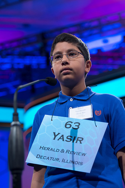 Speller 63 Yasir Hasnain competes in the preliminary rounds of the Scripps National Spelling Bee at the Gaylord National Resort and Convention Center in National Habor, Md., on Wednesday,  May 30, 2012. Photo by Bill Clark