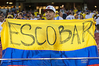 Santa Clara, CA - Friday June 3, 2016: A Colombia fan holds a fan in honor of former Colombia player Andres Escobar. USA played Colombia in the opening match of the Copa América Centenario game at Levi's Stadium.