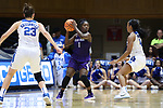 DURHAM, NC - NOVEMBER 16: High Point's Kat Harris (1). The Duke University Blue Devils hosted the High Point University Panthers on November 16, 2017 at Cameron Indoor Stadium in Durham, NC in a Division I women's college basketball game. Duke won the game 77-50.