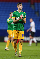 Preston North End's Jordan Storey applauds his side's travelling supporters at the end of the match <br /> <br /> Photographer Andrew Kearns/CameraSport<br /> <br /> The EFL Sky Bet Championship - Bolton Wanderers v Preston North End - Saturday 9th February 2019 - University of Bolton Stadium - Bolton<br /> <br /> World Copyright © 2019 CameraSport. All rights reserved. 43 Linden Ave. Countesthorpe. Leicester. England. LE8 5PG - Tel: +44 (0) 116 277 4147 - admin@camerasport.com - www.camerasport.com