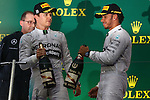 (L to R) Nico Rosberg, Lewis Hamilton (Mercedes AMG), <br /> OCTOBER 5, 2014 - F1 : Japanese Formula One Grand Prix Award ceremonyat Suzuka Circuit in Suzuka, Japan. (Photo by AFLO SPORT) [1180] GERMANY OUT