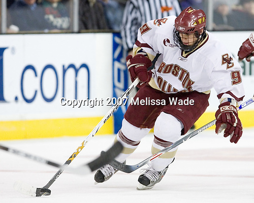 Nathan Gerbe (Boston College - Oxford, MI) - The Boston College Eagles defeated the Harvard University Crimson 3-1 in the first round of the 2007 Beanpot Tournament on Monday, February 5, 2007, at the TD Banknorth Garden in Boston, Massachusetts.  The first Beanpot Tournament was played in December 1952 with the scheduling moved to the first two Mondays of February in its sixth year.  The tournament is played between Boston College, Boston University, Harvard University and Northeastern University with the first round matchups alternating each year.