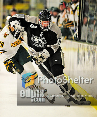5 February 2011: Providence College Friar center Tim Schaller, a Sophomore from Merrimack, N.H. in action against the University of Vermont Catamounts at Gutterson Fieldhouse in Burlington, Vermont. The Catamounts defeated the Friars 7-1 in the second game of their weekend series. Mandatory Credit: Ed Wolfstein Photo