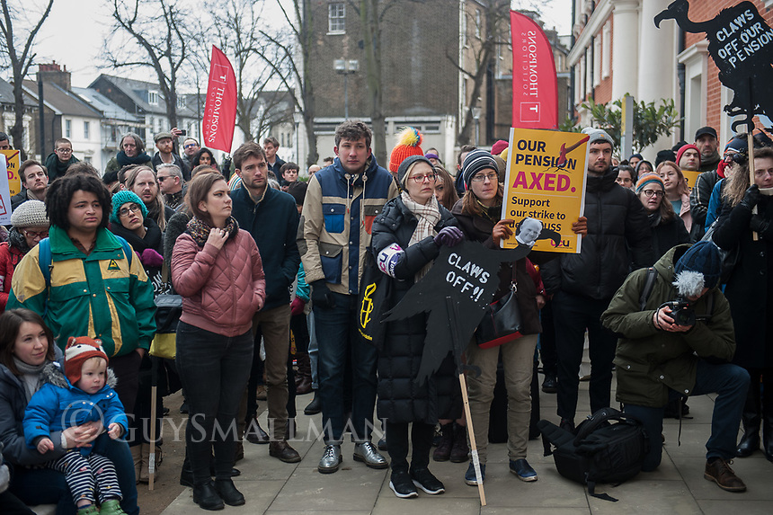 Rally at Goldsmiths University during a strike by UCU members over changes to their pensions. It was addresses by Sally Hunt UCU General Secretary and also John McDonnell the shadow chancellor. London 22-2-18