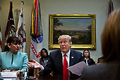 U.S. President Donald Trump speaks as he meets with small business leaders in the Roosevelt Room of the White House in Washington, D.C., U.S., on Monday, Jan. 30, 2017. Trump defended the immigration clampdown that sparked a global backlash over the weekend by blaming the confusion at airports on protesters and on a computer outage at Delta Air Lines Inc. that caused flight cancellations. <br /> Credit: Andrew Harrer / Pool via CNP