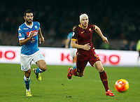 Napoli's Raul Albiol  and  AS Roma's Edin Dzeko  during the  italian serie a soccer match,between SSC Napoli and AS Roma       at  the San  Paolo   stadium in Naples  Italy ,December 13, 2015