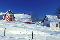 red barn, Vermont, VT, Snow-covered red barn, white farmhouse, red door, Diamond Heart Farm, East Albany, winter.