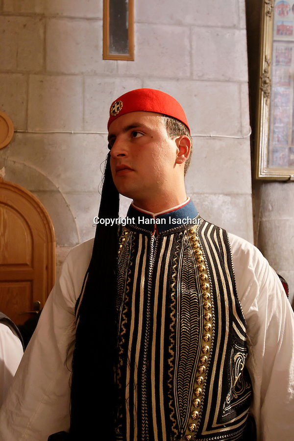 Israel, Jerusalem Old City, Greek Soldiers attending the Ceremony of the Holy Light at the Church of the Holy Sepulchre on Holy Saturday, Easter 2005<br />