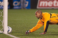Tim Howard of the MetroStars could not handle Zizi Roberts shot and could only watch as the rebound rolls in. The Colorado Rapids lost to the NY/NJ MetroStars 2-1 on 5/3/03 at Giant's Stadium,East Rutherford, NJ.