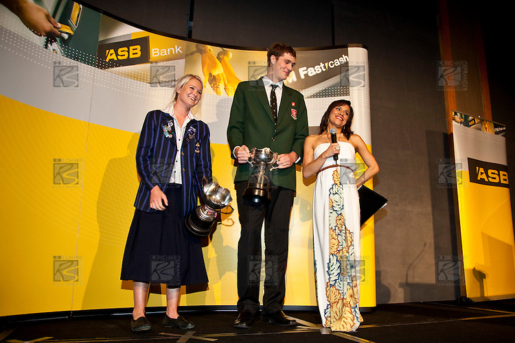 Stacey Morrison interviews Robert Loe after he was named Young Sportsman of the Year. ASB College Sport Auckland Secondary School Young Sports Person of the Year Awards held at Eden Park on Thursday 12th of September 2009.